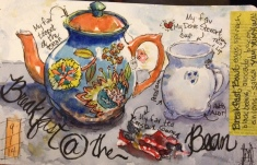 "Breakfast at the Bean Watercolor 5x8"" $125"