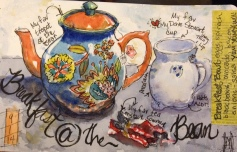 """Breakfast at the Bean Watercolor 5x8"""" $125"""
