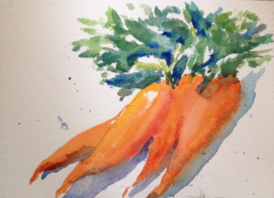 """Carrots Watercolor $100 5x8"""""""
