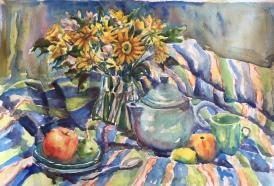 "Daisies Watercolor 15x20' $400 15""x20"""