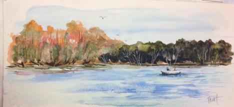Savannah River Fisherman Watercolor 10x24 Sold!