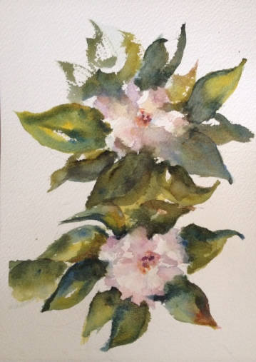 Gardenias Watercolor $125 8x10""