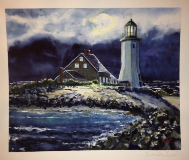 "Scituate Light Watercolor $400 15""x20"""