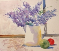 Lilacs and fruit Watercolor $200 12x15