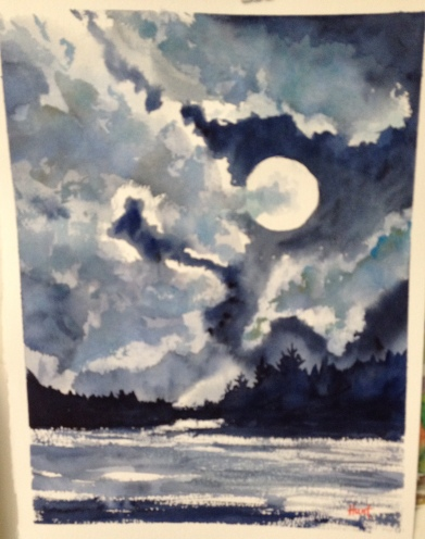 """Moonlight Watercolor 12x14"""" $200"""