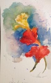 "Nasturtiums Watercolor $100 5x8"""