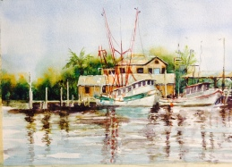 Shrimp boats 10x15 Watercolor $250