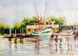 Shrimp boats 10x15 Watercolor $250