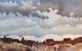 "Storm Coming Watercolor 7.5x11"" $200"