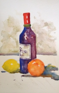 Wine and Fruit 6x8 Watercolor $125